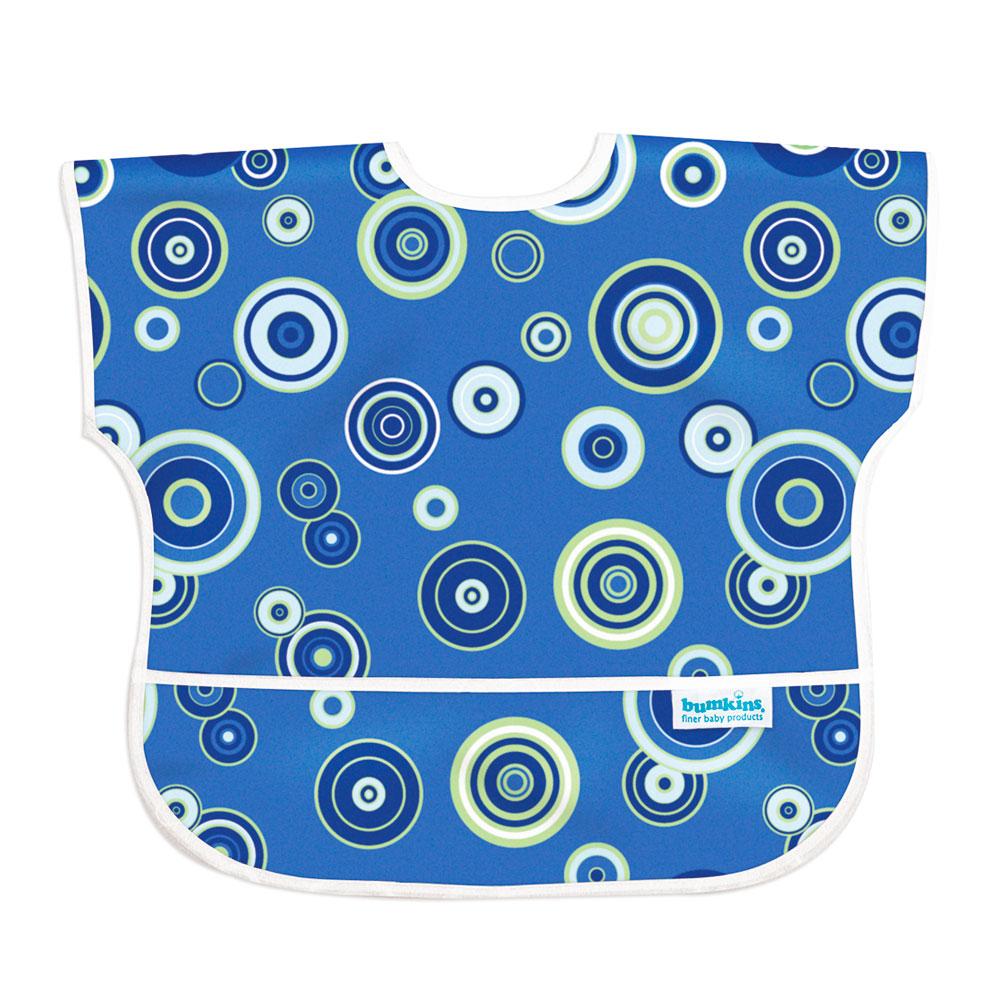 美國Bumkins兒童短袖防水圍兜-藍色普普風 BKU430