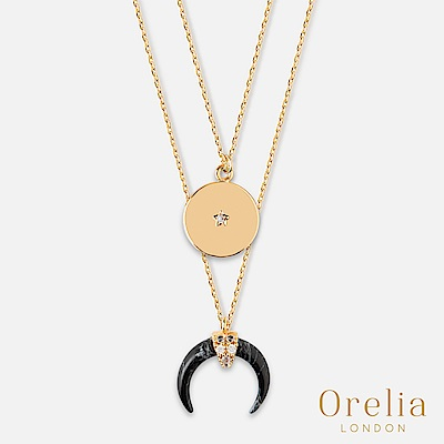 Orelia 英國倫敦 月牙大理石鍍金雙層項鍊(黑)