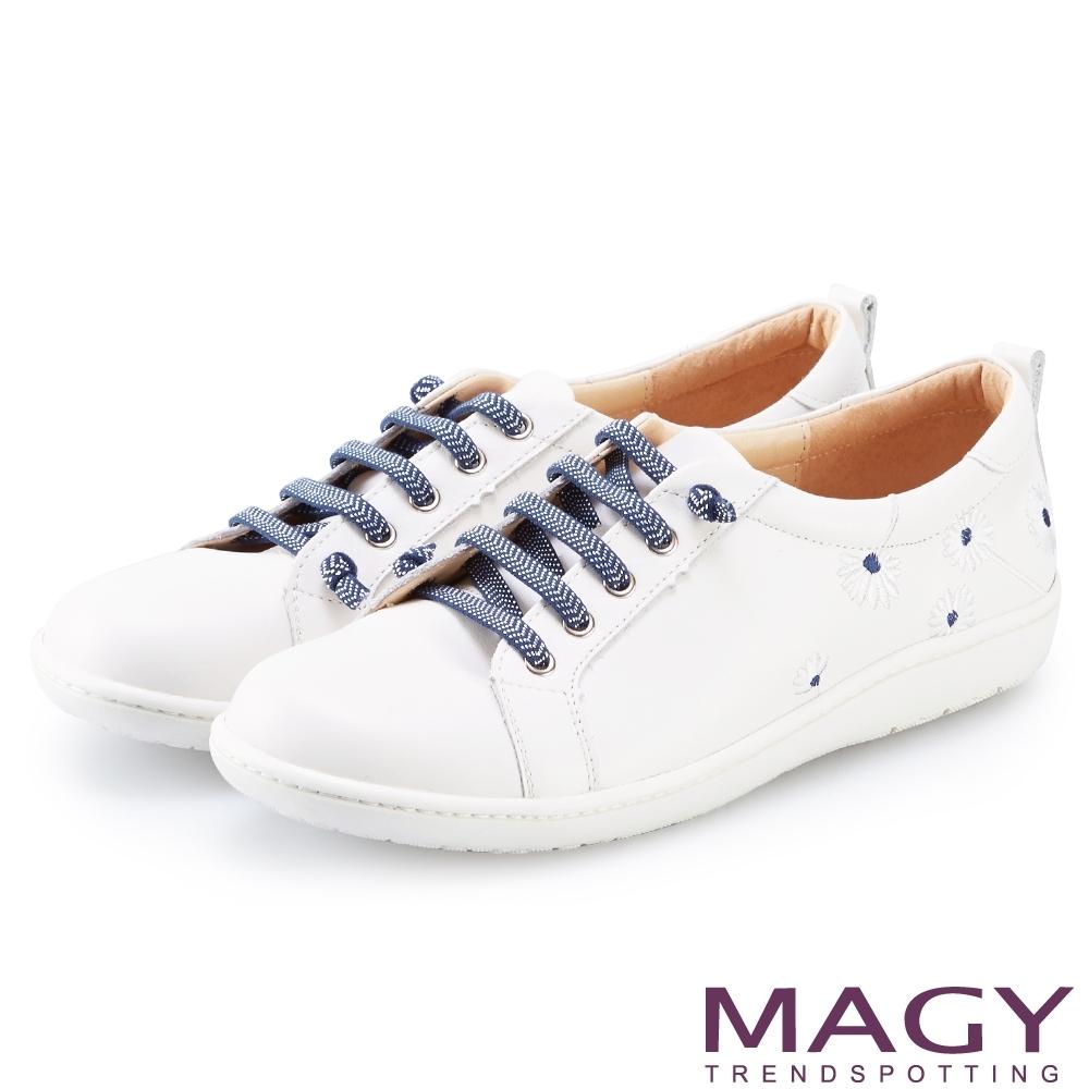 MAGY 真皮刺繡花朵綁帶 女 休閒鞋 百底藍花