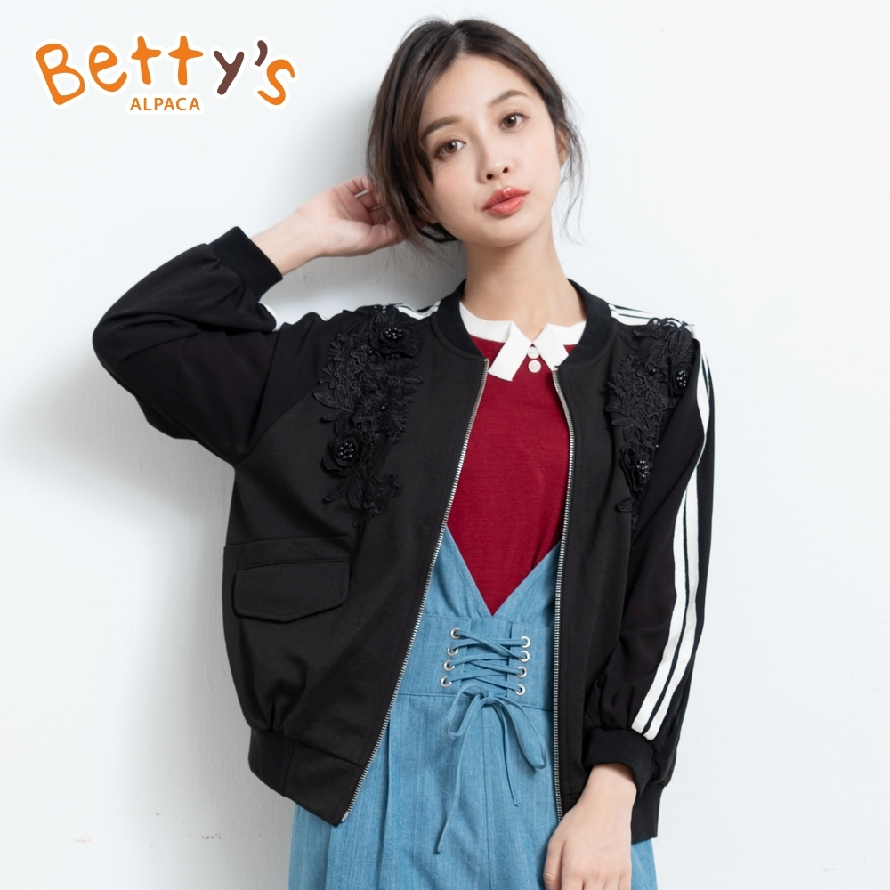 betty's貝蒂思 蕾絲壓花雪紡袖外套(黑色)