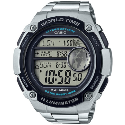 CASIO 世界地圖液晶螢幕數位鋼帶腕錶(AE-3000WD-1A)/55mm