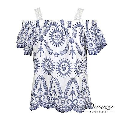 OUWEY歐薇 造型五分袖圖騰寬版印花上衣(藍)