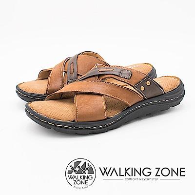 WALKING ZONE 交叉皮釦造型透氣軟墊 男拖鞋-棕(另有黑)