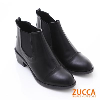 ZUCCA 絨質彈性帶拼接低跟短靴-黑色-z6233ce
