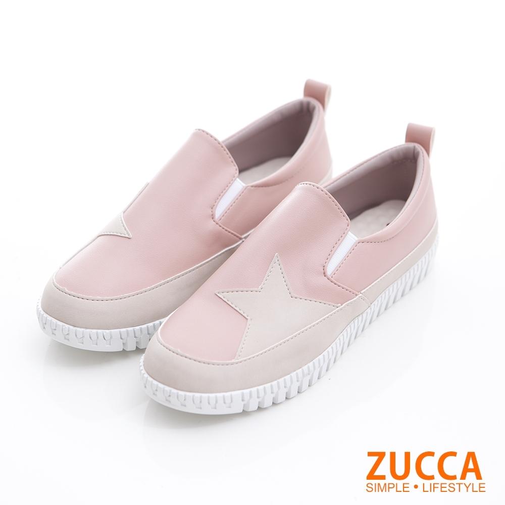 ZUCCA-雙色拼貼星星平底鞋-粉-z6820pk