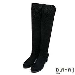 DIANA 妝點閃耀—萊卡羊絨水鑽拼接車線前長後短膝上長靴-黑