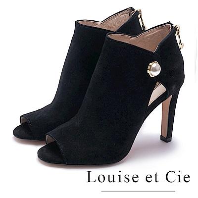 Louise et Cie-珍珠魚口麂皮高跟踝靴-絨黑