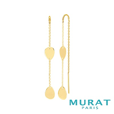 MURAT Paris 法國輕珠寶 優雅曲線水滴垂吊耳環(金色款)