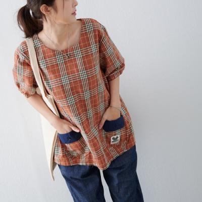 慢 生活 格紋色織雙口袋上衣- 橘色