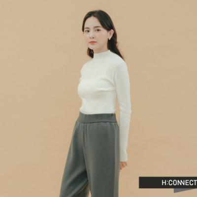 H:CONNECT 韓國品牌 女裝-素面羅紋針織上衣-白