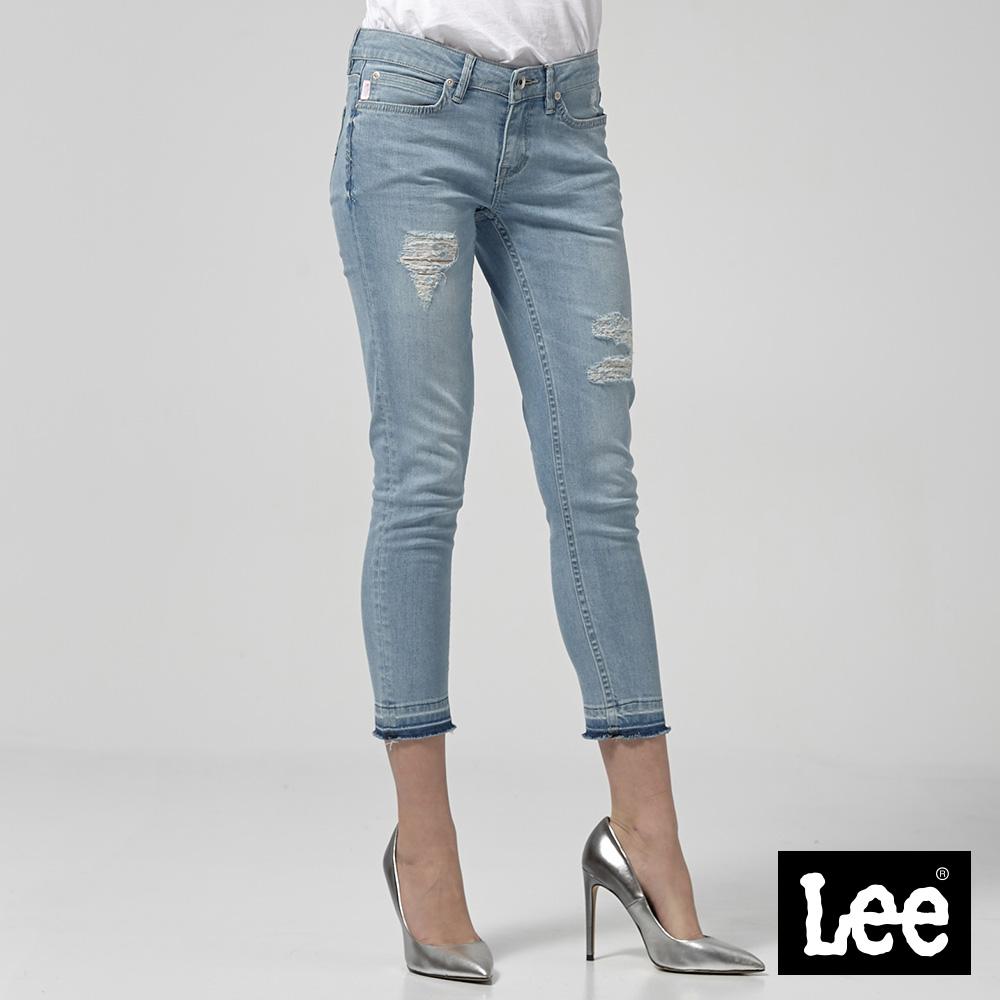 Lee 低腰合身窄管牛仔褲-中藍色洗水