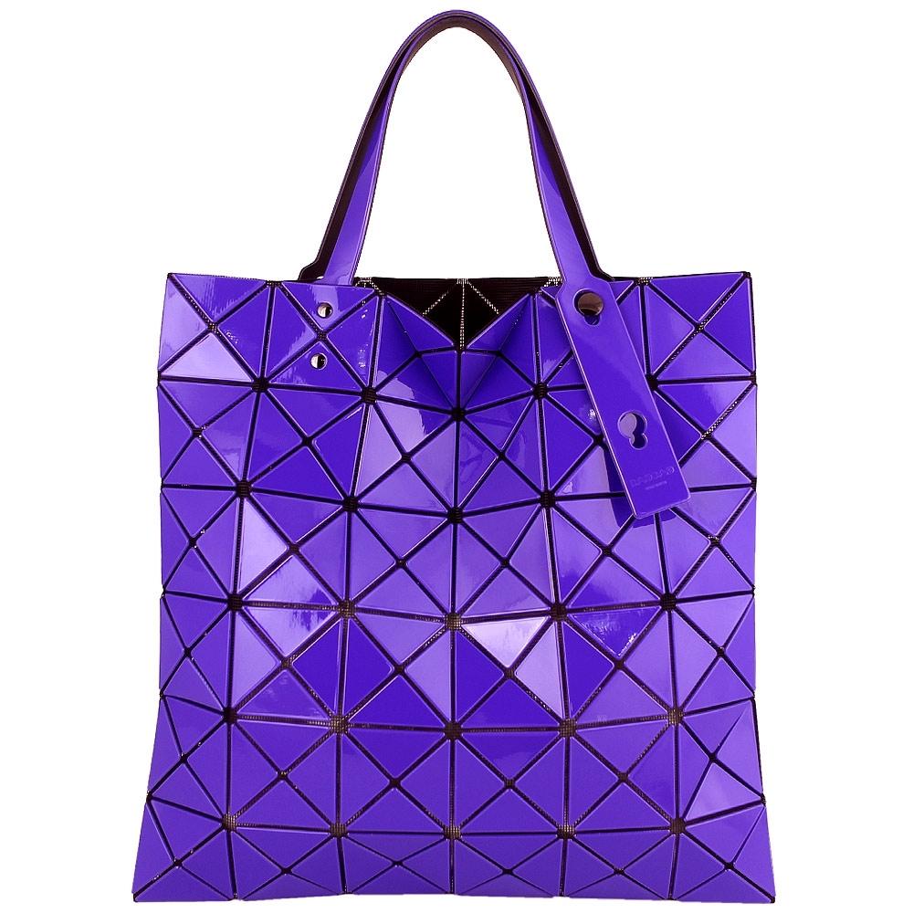 ISSEY MIYAKE 三宅一生BAOBAO 亮面三角方格6x6手提包(紫藍色)
