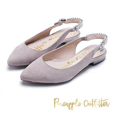 Pineapple Outfitter 低調奢華 水鑽後繫帶低跟鞋-灰色