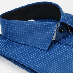 金‧安德森 深藍底黑內領方點窄版長袖襯衫fast
