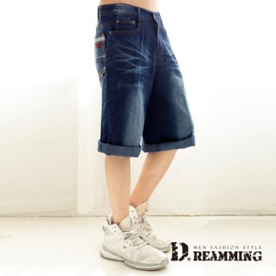 Dreamming 刺繡1953刷色伸縮牛仔短褲 七分褲-深藍
