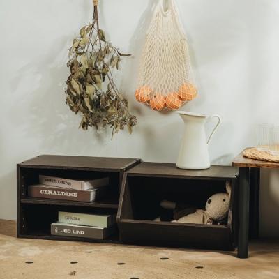樂嫚妮 DIY 日式 收納櫃/置物櫃/玩具櫃-深胡桃木色2入組-42X28.2X28.8cm