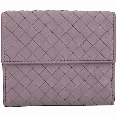 BOTTEGA VENETA 經典小羊皮編織雙釦式短夾(紫藤色)