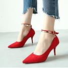KEITH-WILL時尚鞋館 (現貨) 韓時尚典雅尖頭細跟鞋-紅色