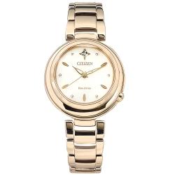 CITIZEN L 光動能  天然鑽石 不鏽鋼手錶 (EM0583-84A)-銀白x鍍玫瑰金/30mm