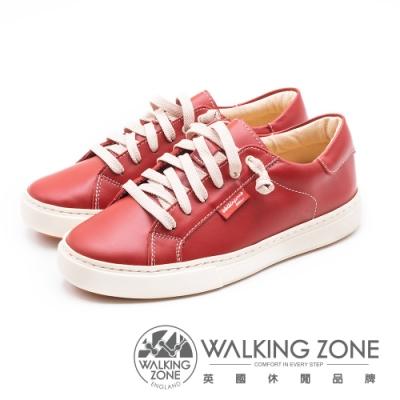 WALKING ZONE 經典六孔牛皮休閒鞋女鞋-紅(另有藍)