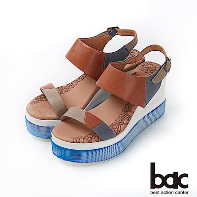 bac加州陽光-異國風情拼色皮革厚底台涼鞋-棕色