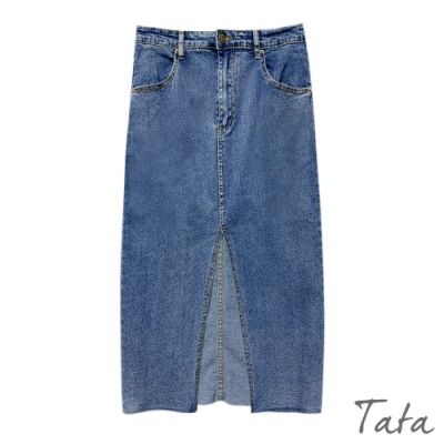 開岔不收邊彈性牛仔裙 TATA-(S~L)