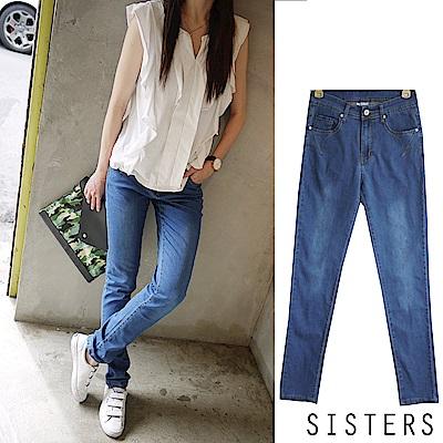 雙繡線美型小直筒窄管褲牛仔長褲 (S-3L) SISTERS
