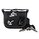 COACH x Disney 聯名款 經典米奇刺繡牛皮翻蓋拉鍊信差包附絲巾(黑)