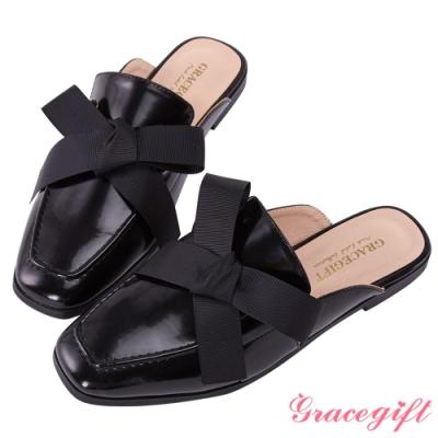 Grace gift-方頭蝴蝶結織帶穆勒鞋 黑