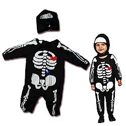 摩達客 萬聖派對寶寶幼兒童小骷髏連身衣+頭套組合