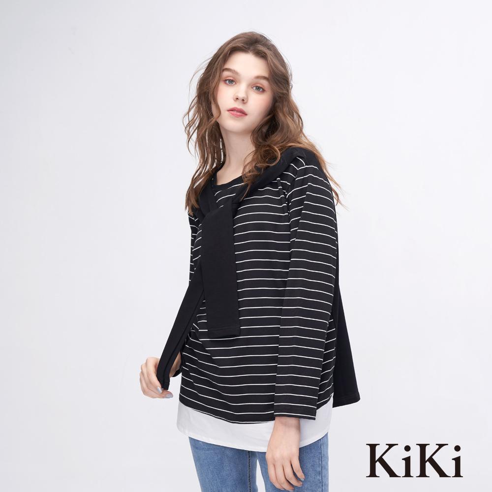KiKi INLook 水手領巾條紋配色上衣(黑色)