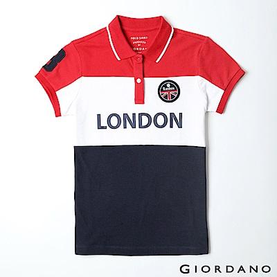 GIORDANO 女裝UNION JACK系列短袖POLO衫-45 高貴紅