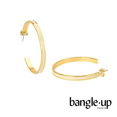BANGLE UP 復古經典琺瑯鍍金開口耳環 -白