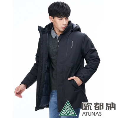 【ATUNAS 歐都納】男防水防風中長版單件式科技纖維保暖外套A1-G1839M黑