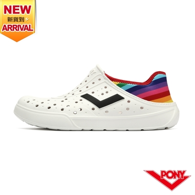 【PONY】ENJOY洞洞鞋 踩後跟 雨鞋 水鞋 中性款-彩虹/白