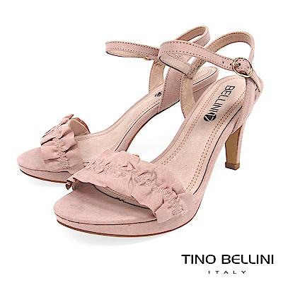 Tino Bellini 百摺緞帶質感繫踝高跟涼鞋 _ 粉