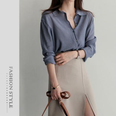 2F韓衣-簡約立領排扣造型上衣-藍色(F)