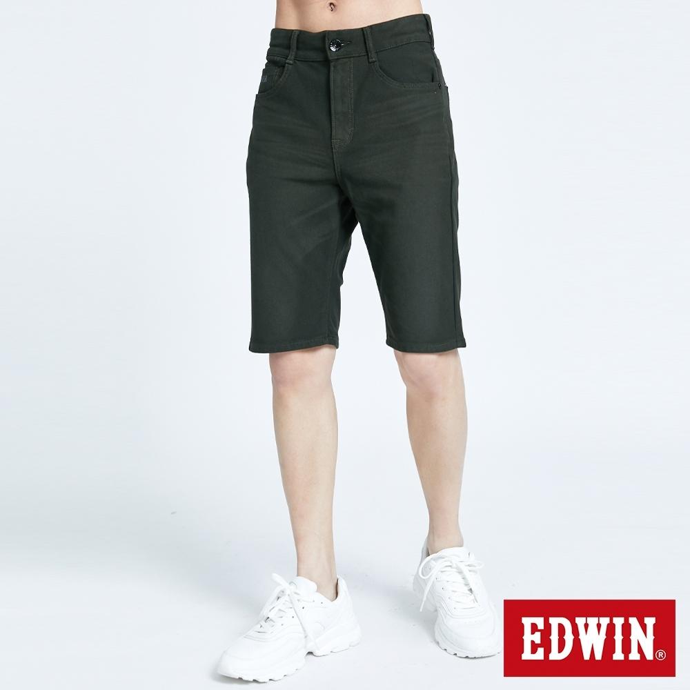 EDWIN JERSEYS 迦績 PK EJ3透氣寬鬆涼感 牛仔短褲-男-墨綠色