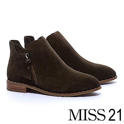 裸靴 MISS 21 俐落剪裁率性拉鍊牛麂皮粗跟裸靴-綠