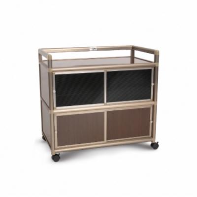 Cabini小飛象-黑桃木3.0尺鋁合金紗門收納櫃88.5x50.8x83.6cm