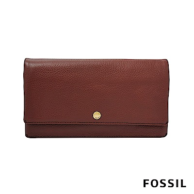 FOSSIL AUBREY 金釦設計多功能零錢長夾-酒紅色