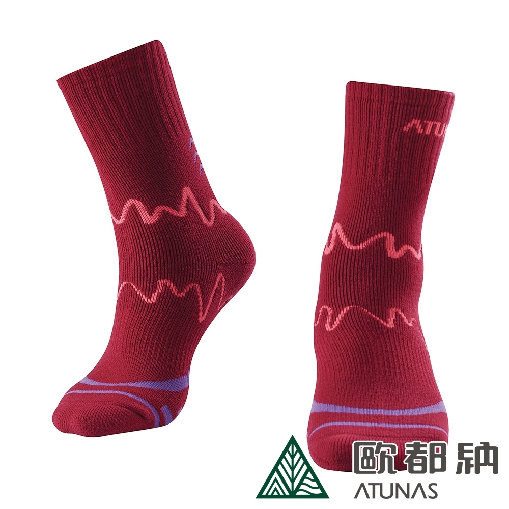 【ATUNAS 歐都納】吸濕排汗舒適中筒羊毛保暖登山襪A-A1732暗紅