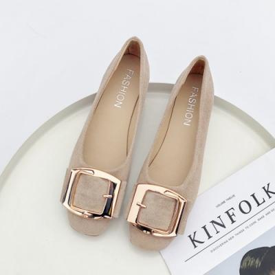 KEITH-WILL時尚鞋館 活力甜心金屬飾品平底鞋 米