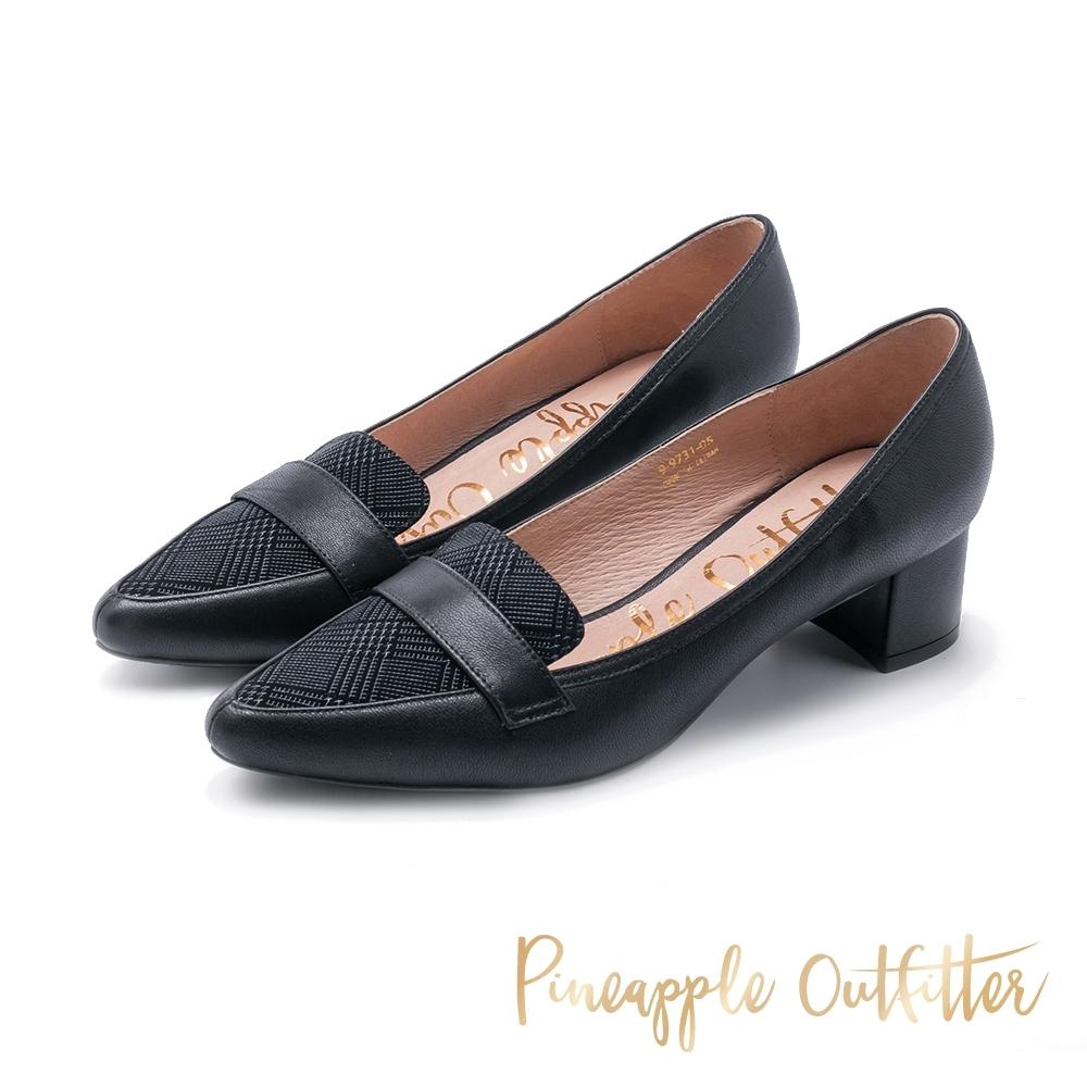 Pineapple Outfitter-PACEY英倫威爾斯格紋尖頭跟鞋-黑色