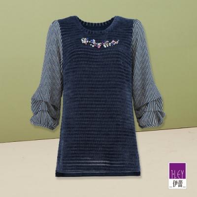 ILEY伊蕾 鑽飾條紋燈籠袖型拼接上衣(藍)