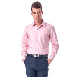 金‧安德森 粉橘底白粉條紋窄版長袖襯衫