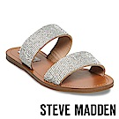 STEVE MADDEN-RAGE 亮鑽寬版二字帶拖鞋-絨棕