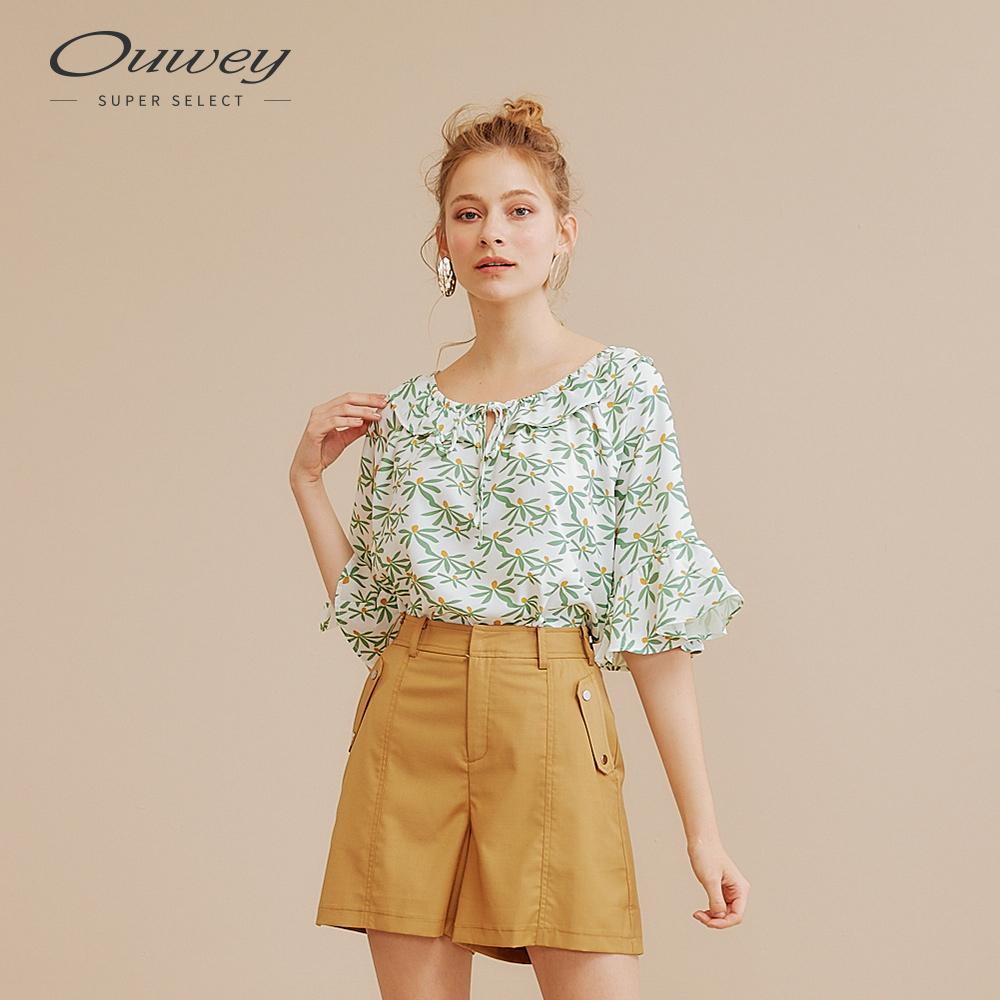 OUWEY歐薇 甜美碎花印花寬領上衣(粉/綠)