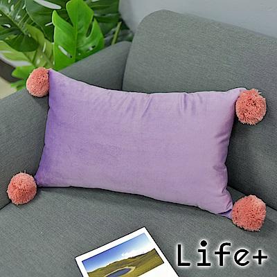 Life Plus 波塔毛球 絨面舒適長型抱枕/靠枕 (丁香紫)