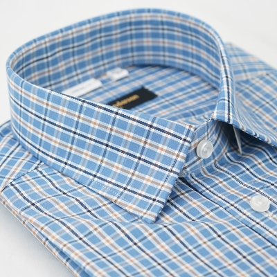【金安德森】藍棕格紋窄版長袖襯衫fast